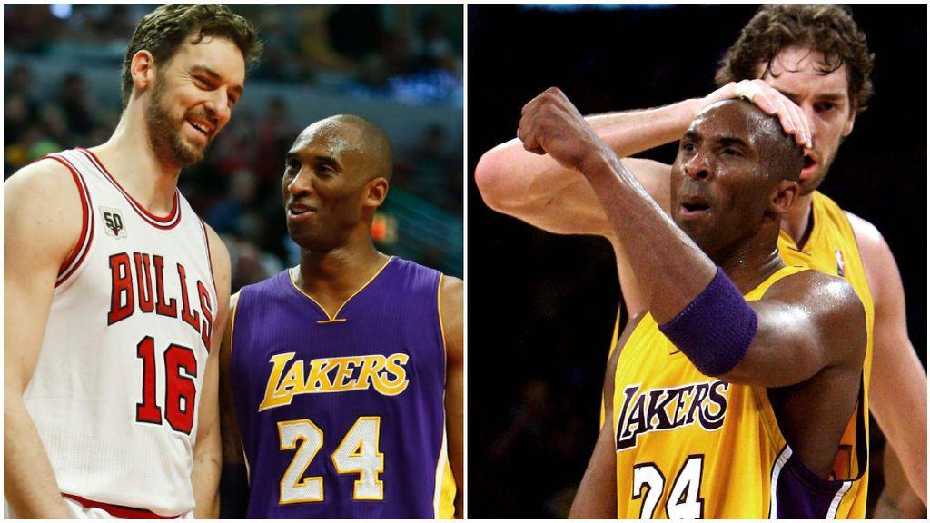 Kobe Bryant y Pau Gasol, durante dos partidos de la NBA.