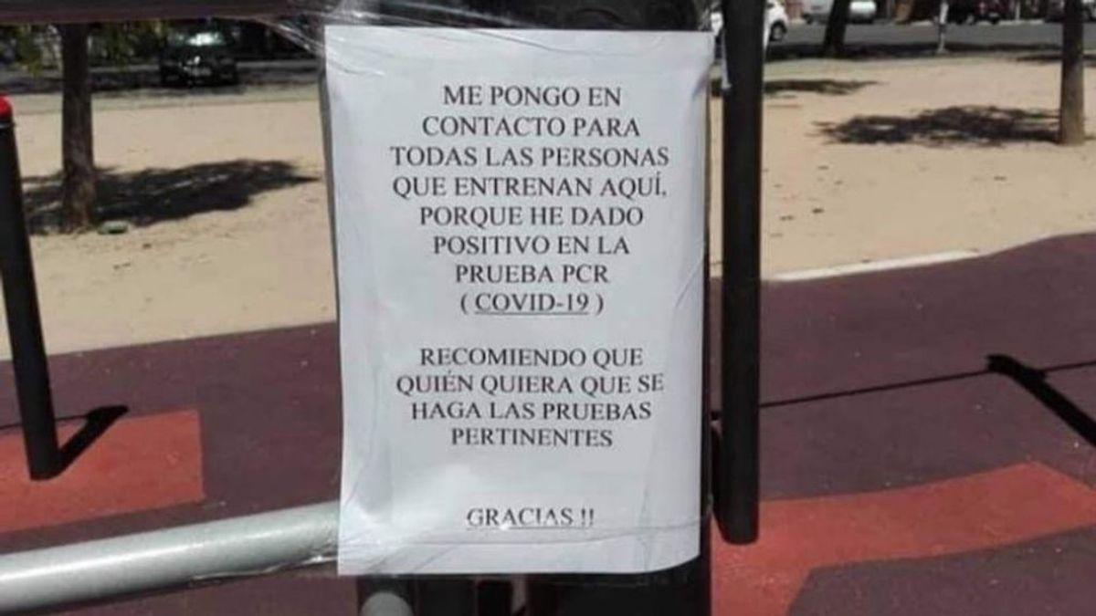 Desinfectan un parque en Córdoba al alertar un usuario en carteles de su positivo en Covid