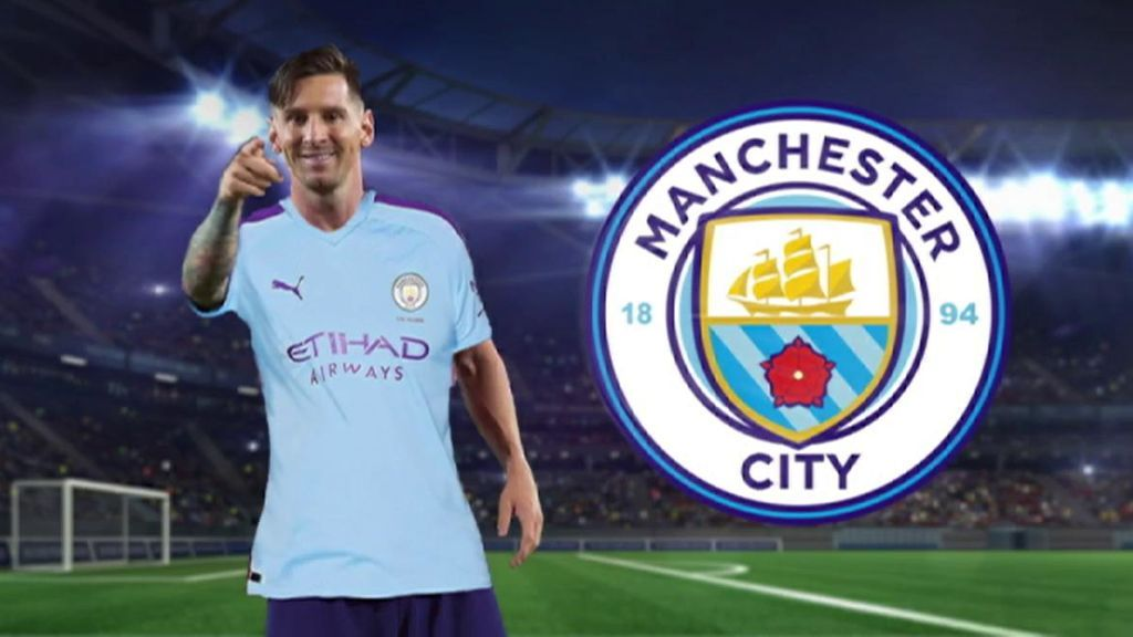 Messi, con la camiseta del Manchester City en un montaje.