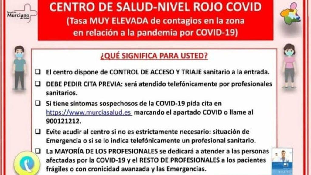 Recomendaciones a seguir en los centros de salud en alerta roja de la Región de Murcia.