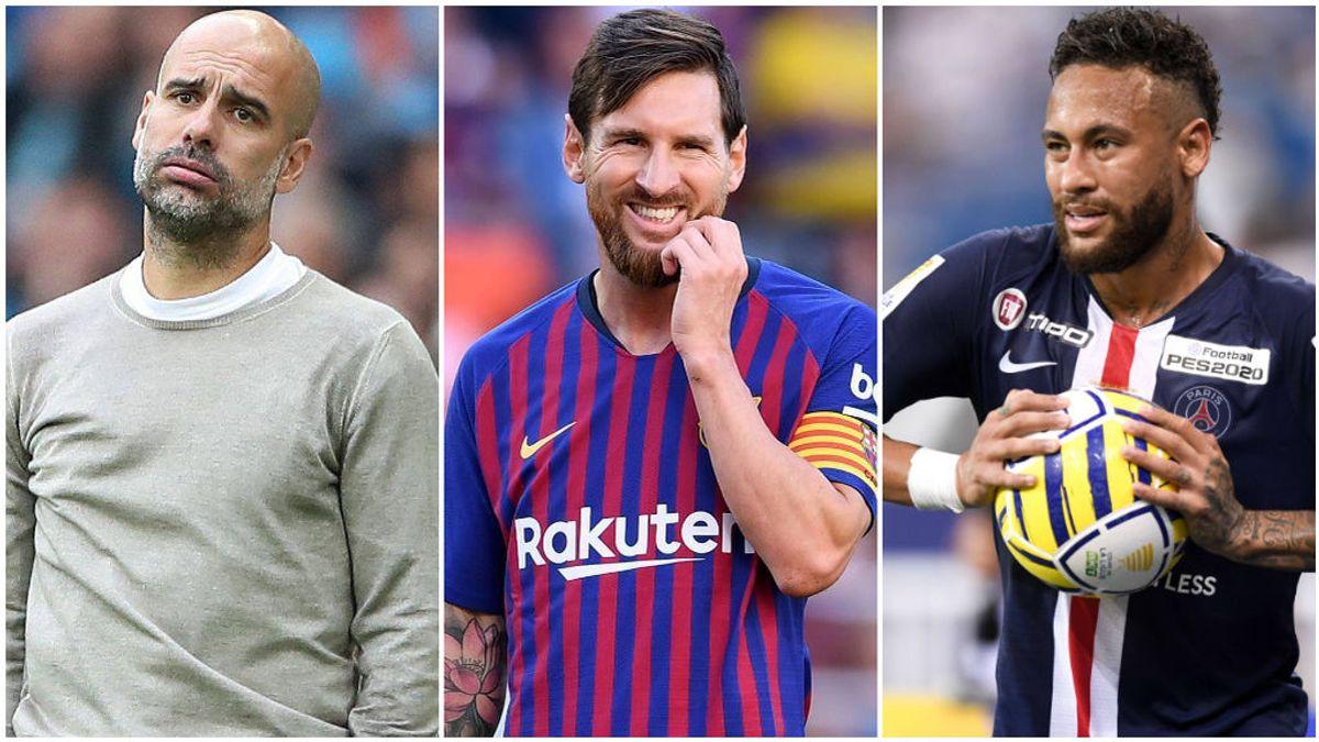 Pep Guardiola, Messi y Neymar.