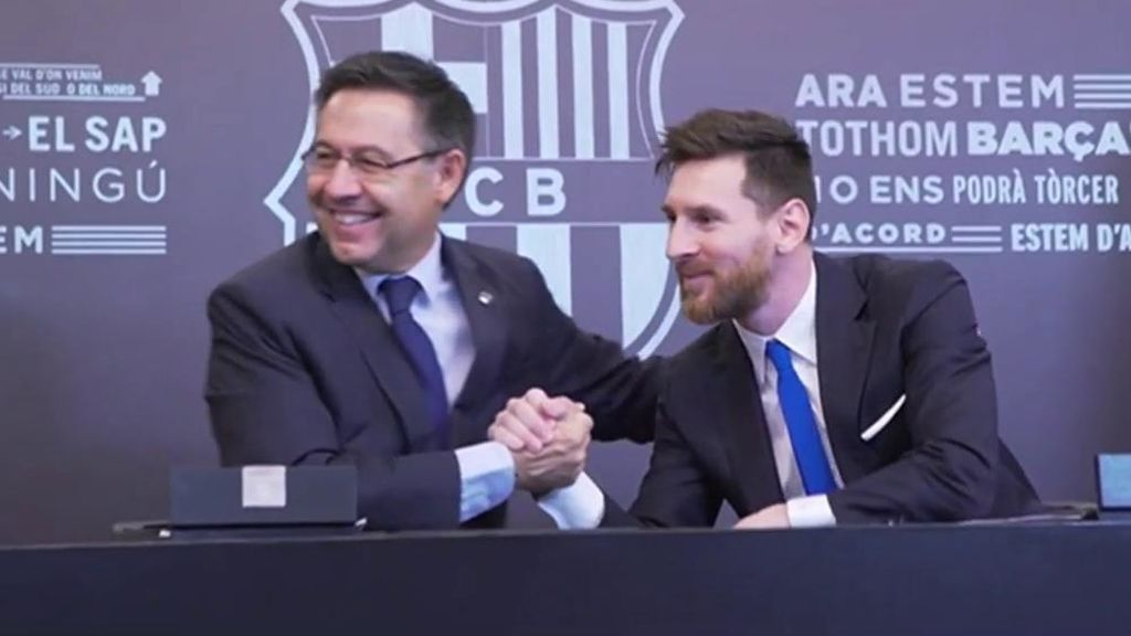 Bartomeu y Messi, en la última renovación del argentino.
