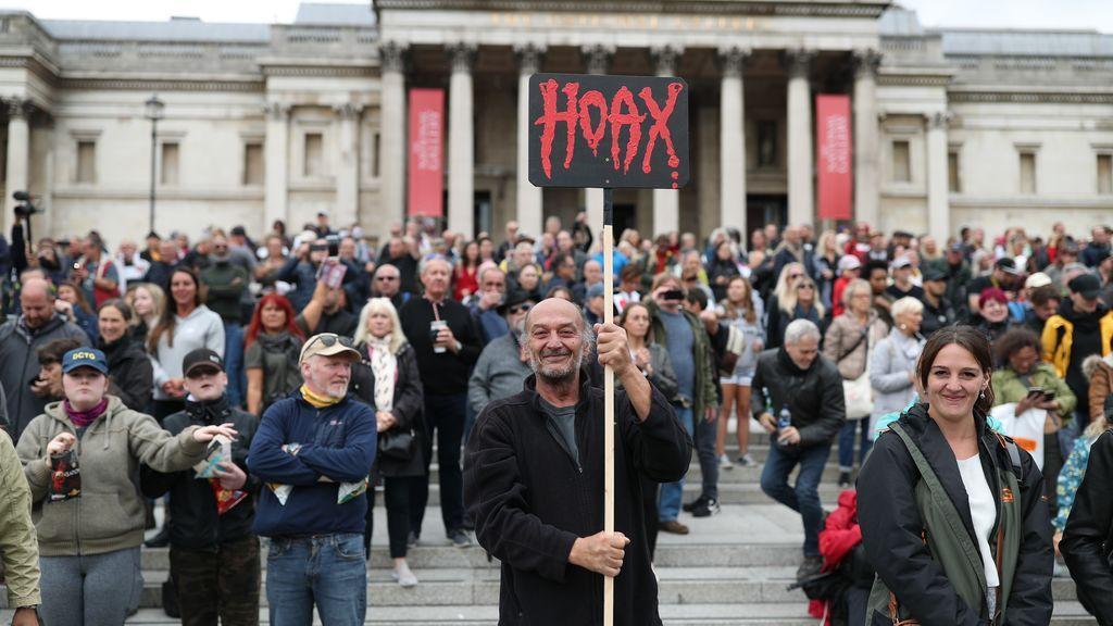 Manifestación en Londres contra las restricciones para frenar el coronavirus