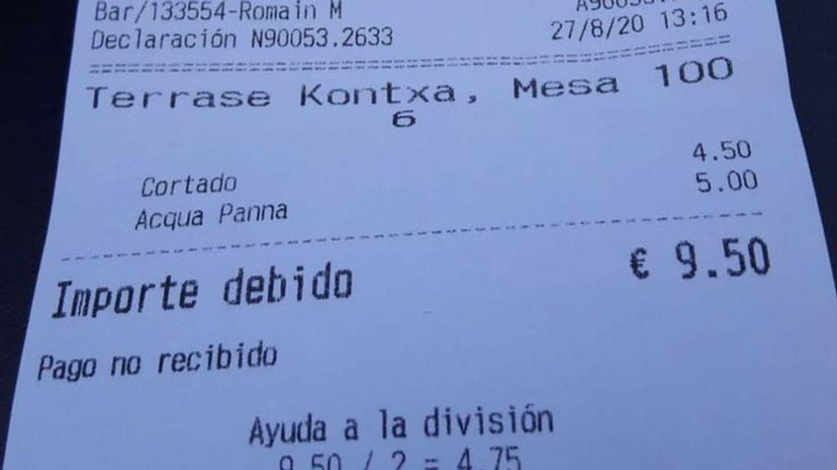 El precio desorbitado de un bar se vuelve viral: casi 10 euros por un café y un agua