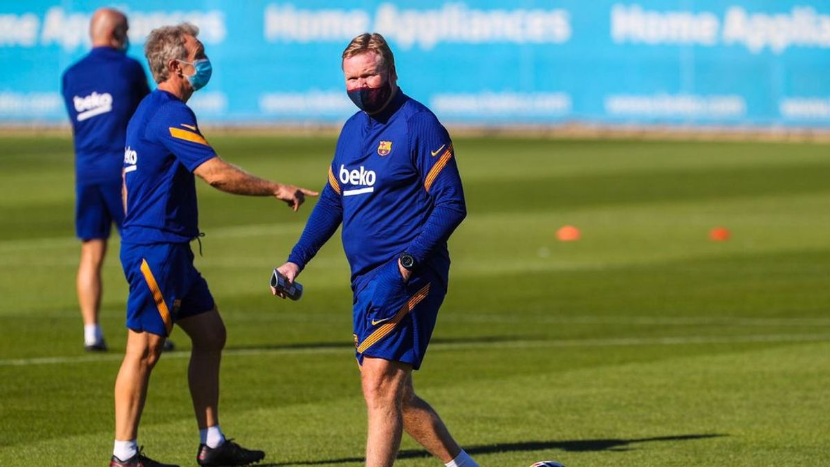 Koeman dirige el primer entrenamiento del Barça con la ausencia de Messi