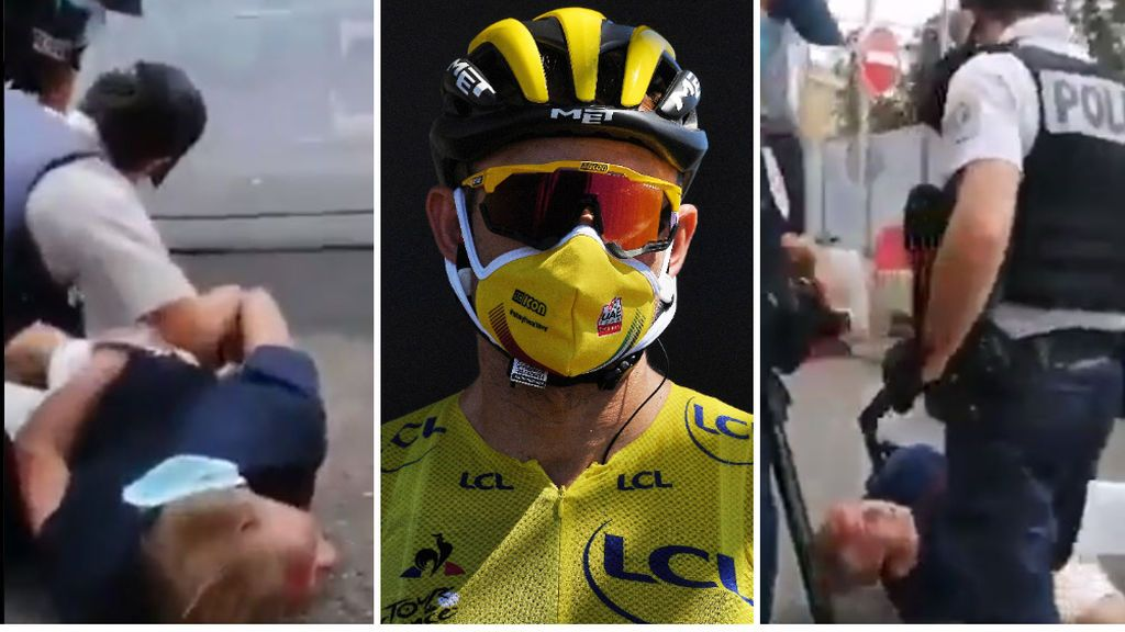 La Policía francesa arresta con violencia a una pareja que acudió a ver el Tour de Francia con las mascarillas mal puestas