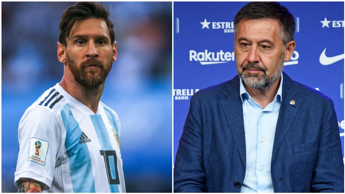 Leo Messi, con la selección argentina, y Bartomeu, en un acto.
