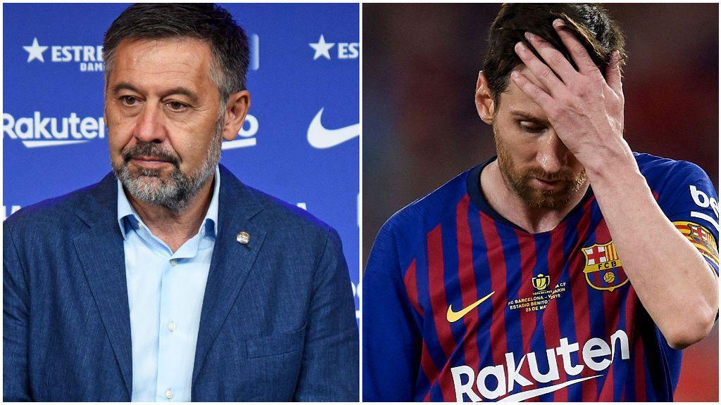 Bartomeu, en un acto del Barça. y Messi, en un partido.