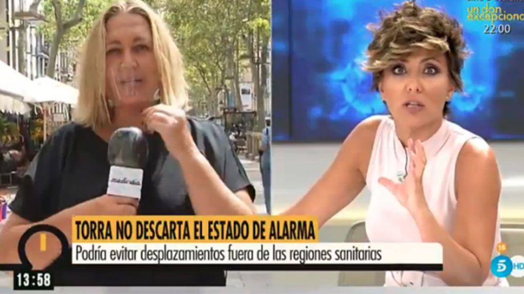 Mayka Navarro, con mascarilla transparente en 'Ya es mediodía'