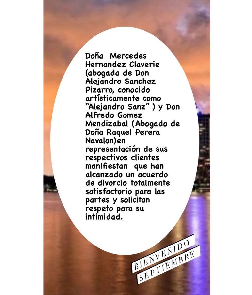 El comunicado de Raquel Perera tras el anuncio de su acuerdo con Alejandro Sanz