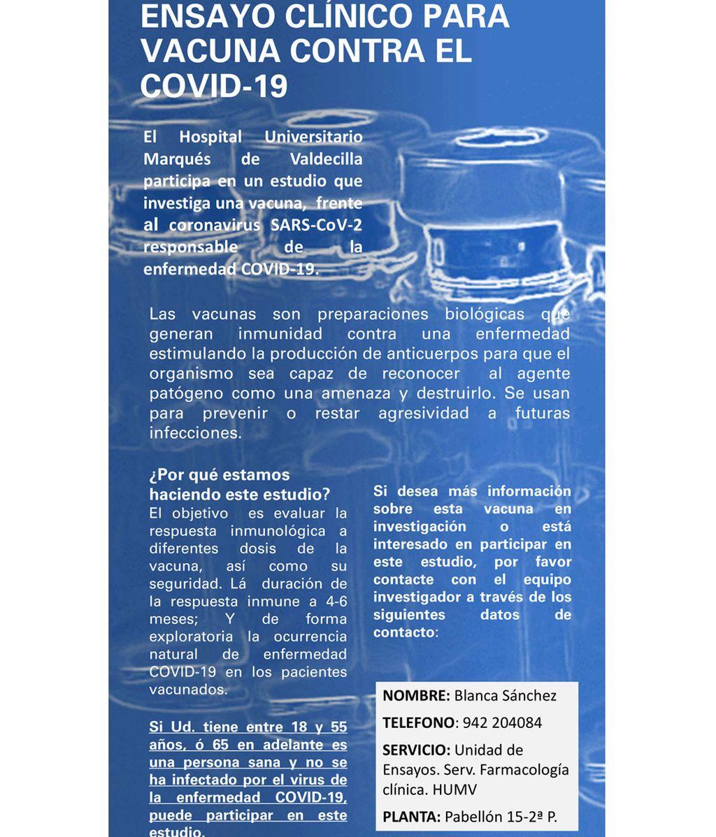 Cartel para reclutar candidatos para el estudio del coronavirus