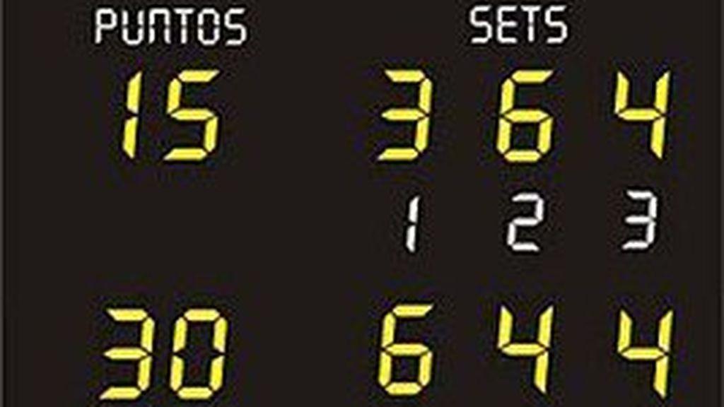 marcador de un partido de tenis