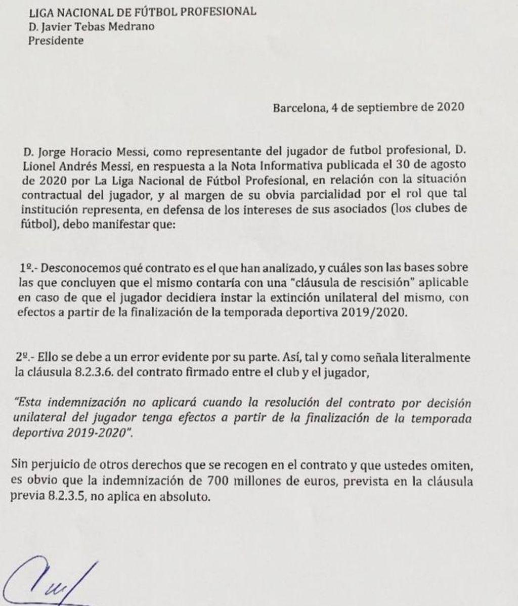 Comunicado de Leo Messi a la Liga.