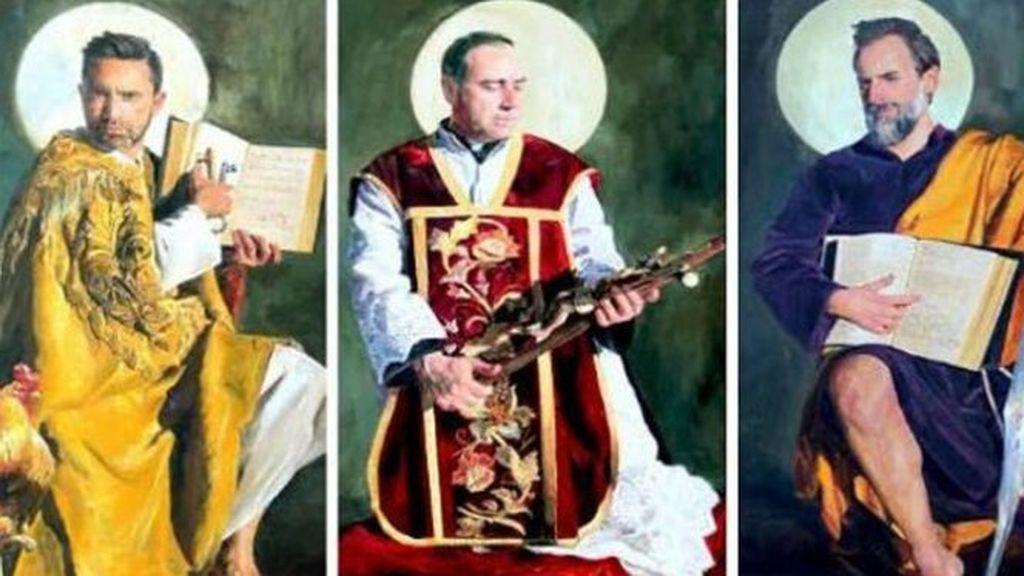 Polémico retablo en una iglesia de Guadix: el cura, el pintor y dos vecinos encarnan a los santos