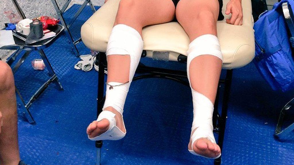 vendaje en las piernas de un deportista