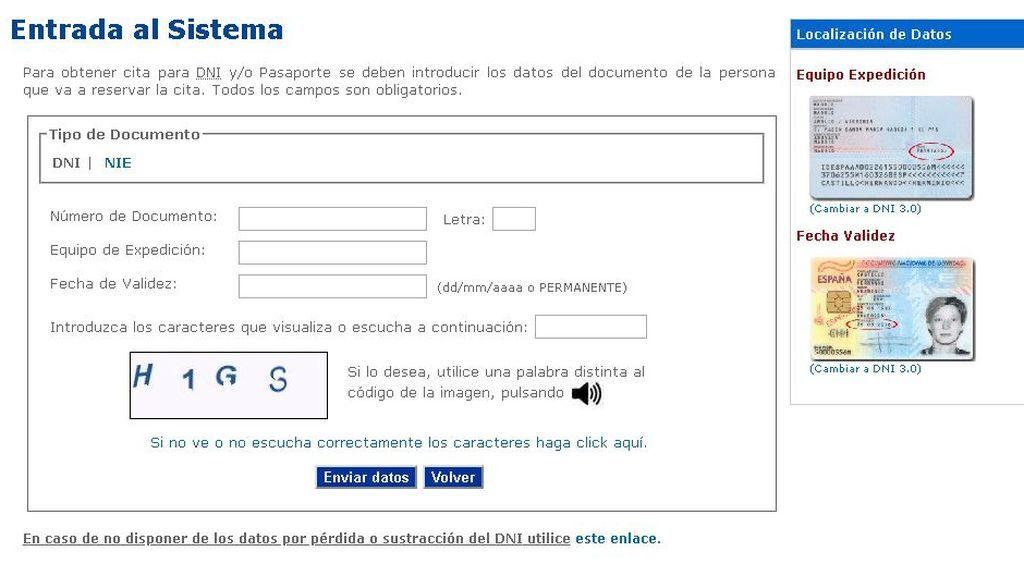 Obtención cita 'online' DNI o Pasaporte