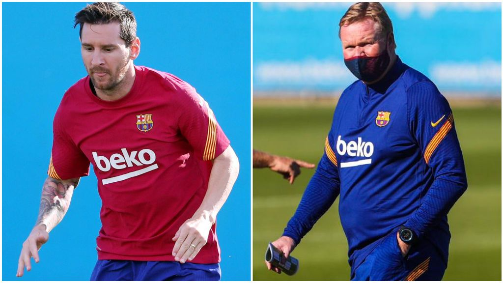 Leo Messi, entrenando con el Barça, y Ronald Koeman.