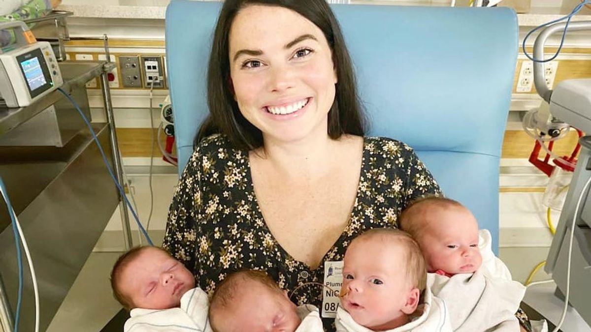 Una mujer dió a luz a cuatrillizos tras adoptar a cuatro hermanos y tener otro hijo: nueve hijos en tiempo récord