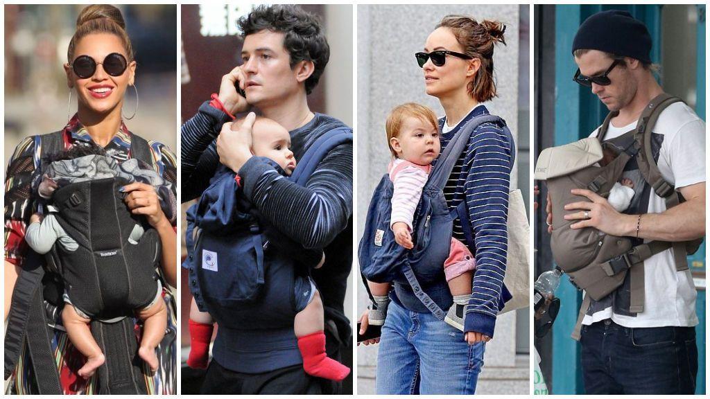 8 mamás y papás famosos que portean a sus bebés.