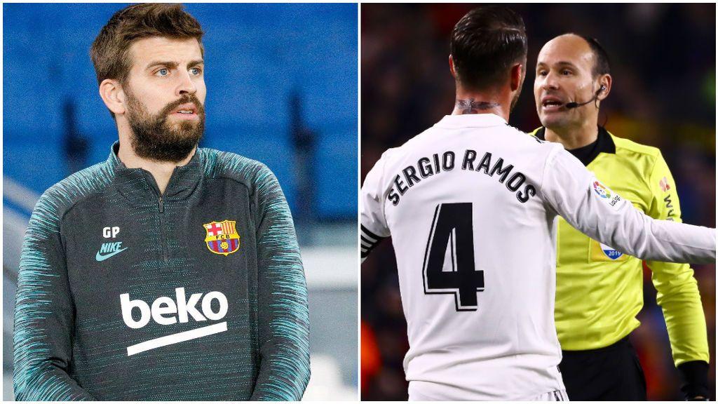 Piqué, antes de un partido, y Sergio Ramos protesta a Mateu Lahoz.