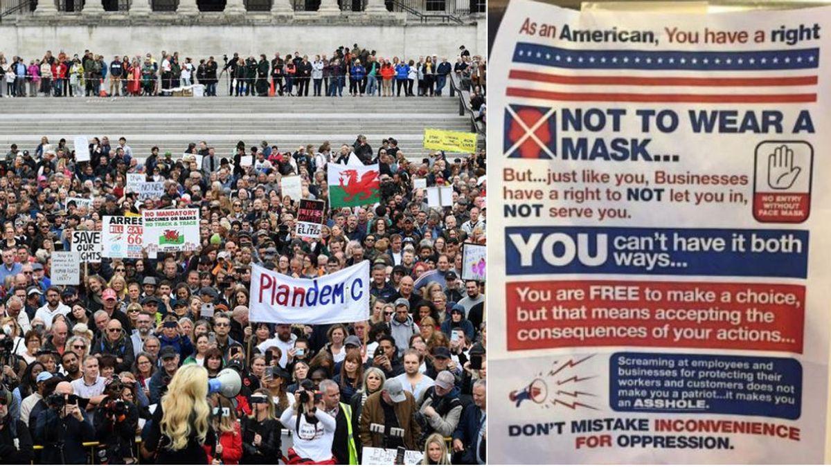 """El mensaje viral en Estados Unidos a los negacionistas por no llevar mascarilla: """"No eres patriota, eres idiota"""""""