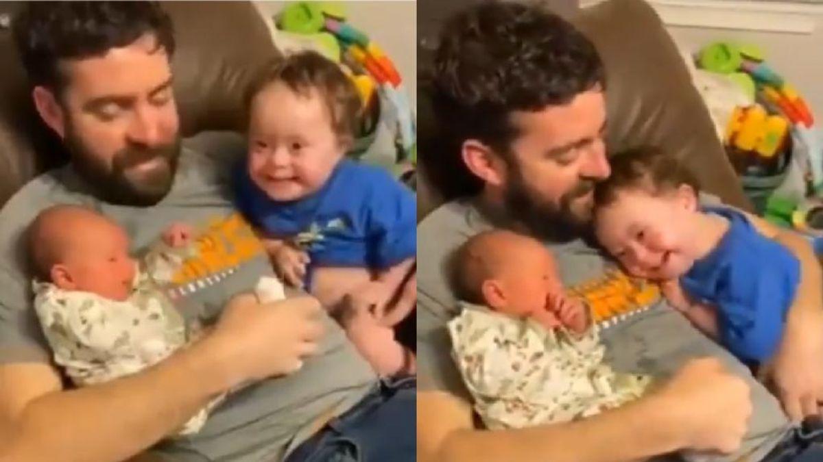 La emotiva reacción de un niño con Síndrome de Down cuando le separan de su hermana recién nacida