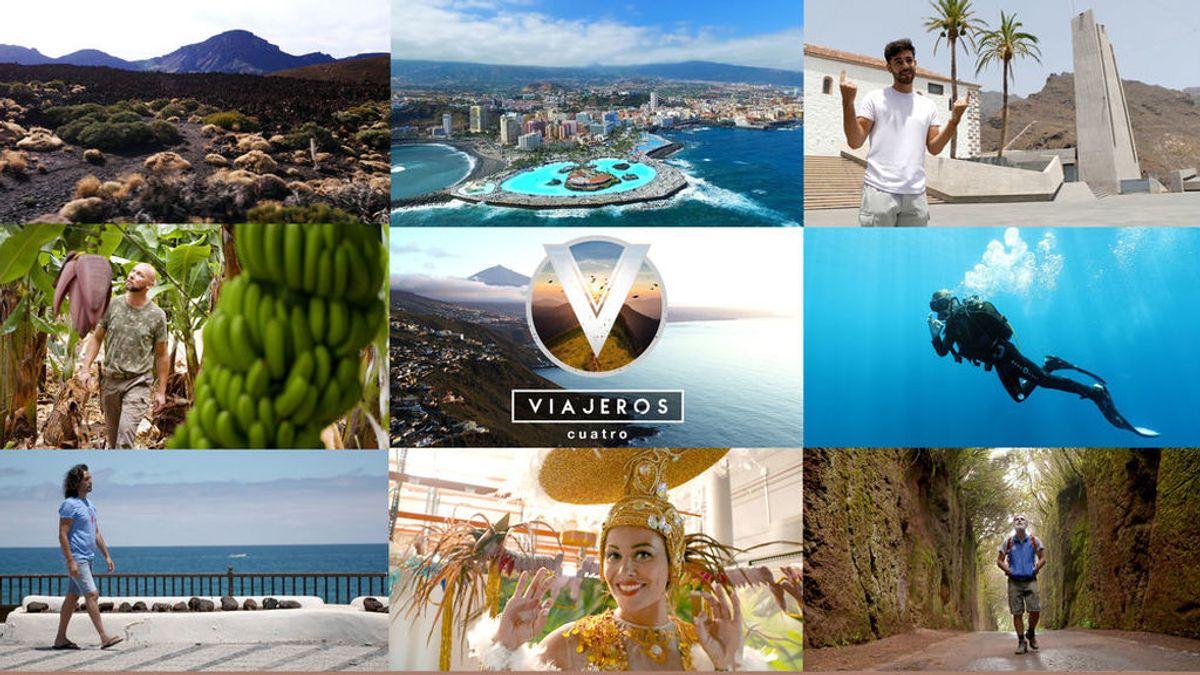 Rafa Méndez, Agoney y la finalista de Miss Universo Patricia Yurena, anfitriones de 'Viajeros Cuatro' en su recorrido por Tenerife