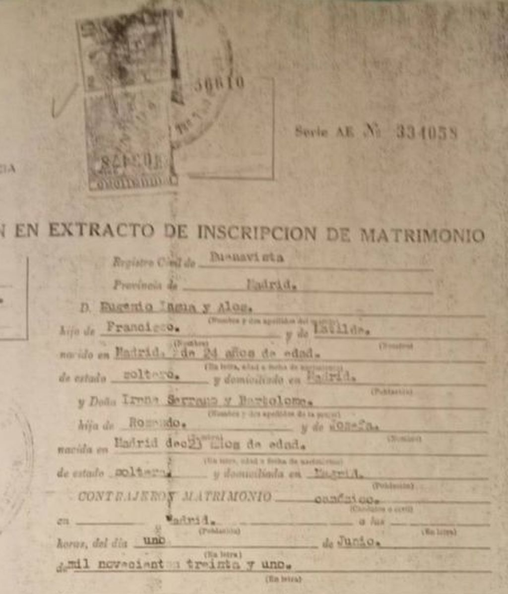 Extracto de la inscripcion de matrimonio
