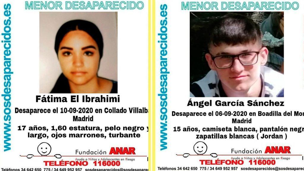 Buscan Ángel García y Fátima El Ibrahimi, dos menores desaparecidos en la Comunidad de Madrid