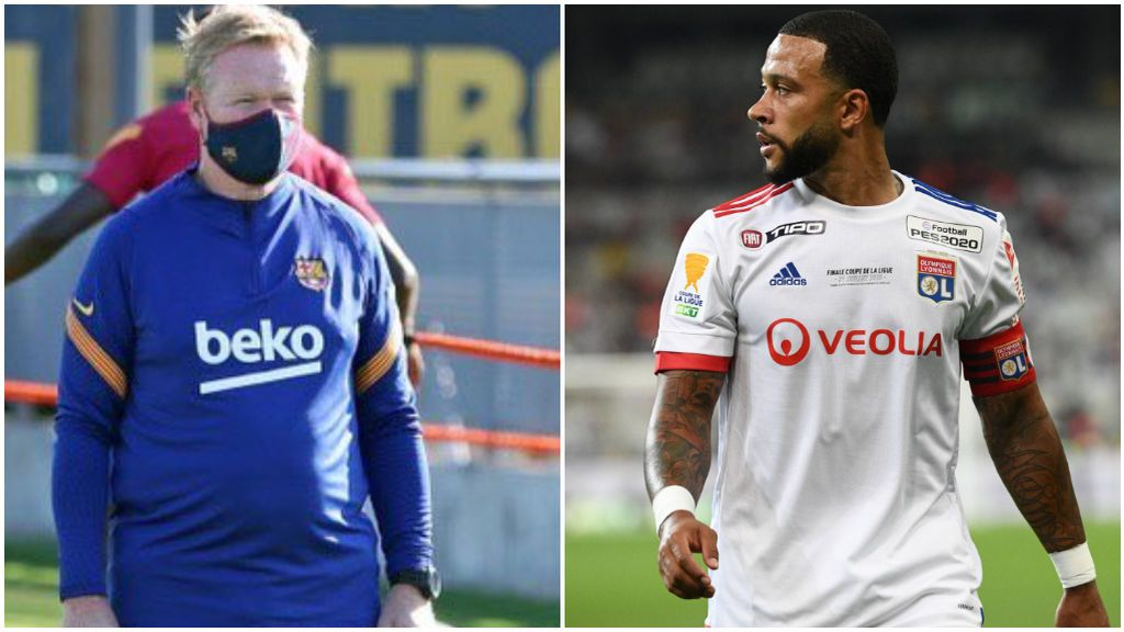 Ronal Koeman, en un entrenamiento, y Depay, en un partido con el Lyon.