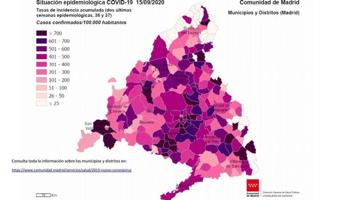 """El mapa del coronavirus en Madrid: Las zonas con más contagios se enfrentan a """"confinamientos selectivos"""""""