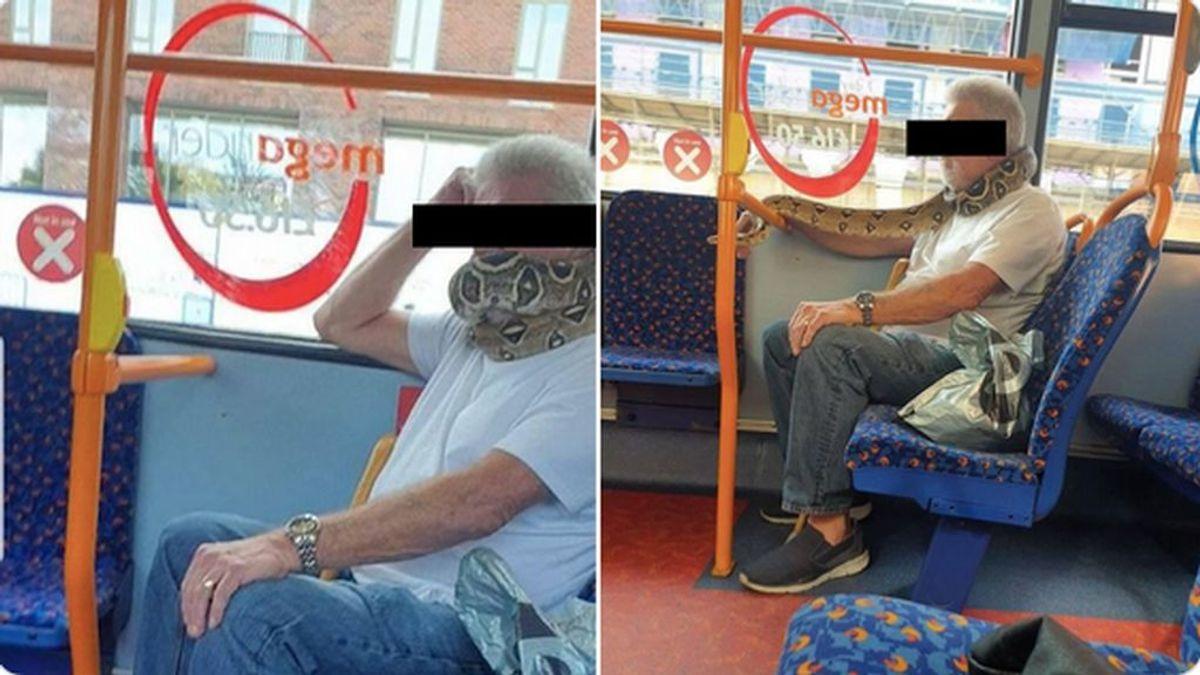 Un hombre usa una serpiente como mascarilla y viaja en autobús ante el asombro de los viajeros