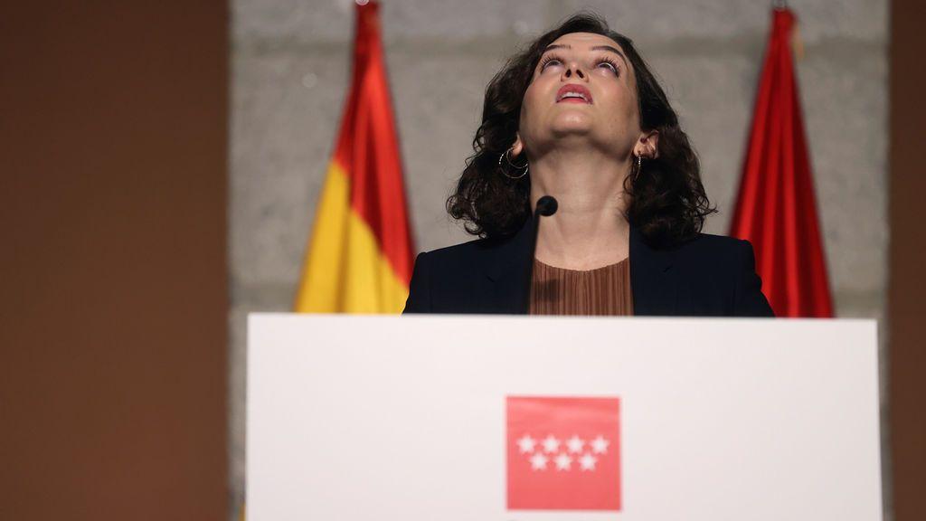 Isabel Díaz Ayuso, presidenta de la Comunidad de Madrid, en el anuncio de nuevas restricciones contra el coronavirus