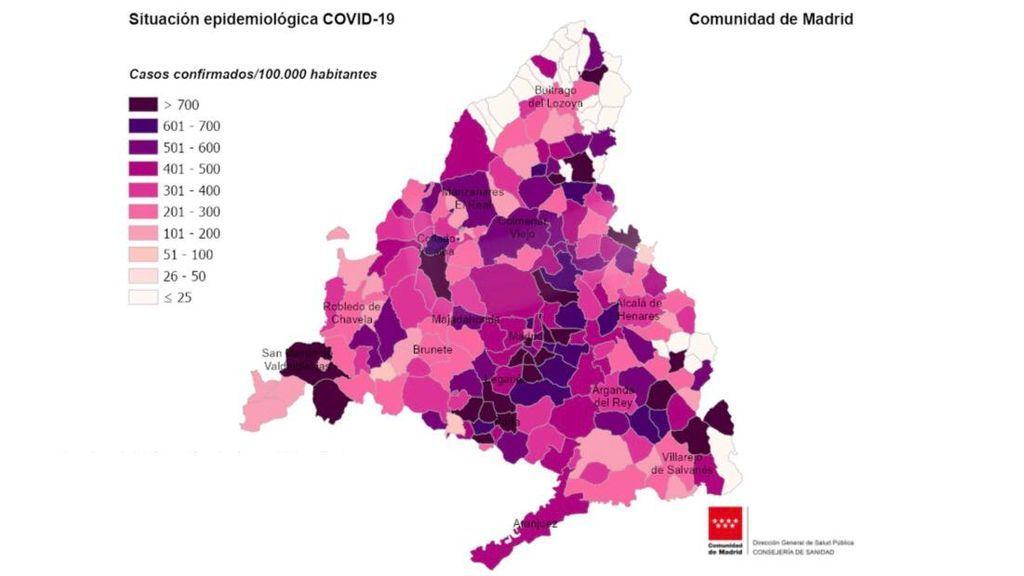 El mapa que muestra qué zonas de Madrid se enfrentan a un posible confinamiento