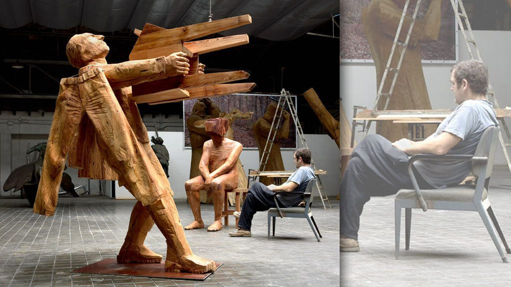 Mudanza, con Leiro en su estudio de Madrid