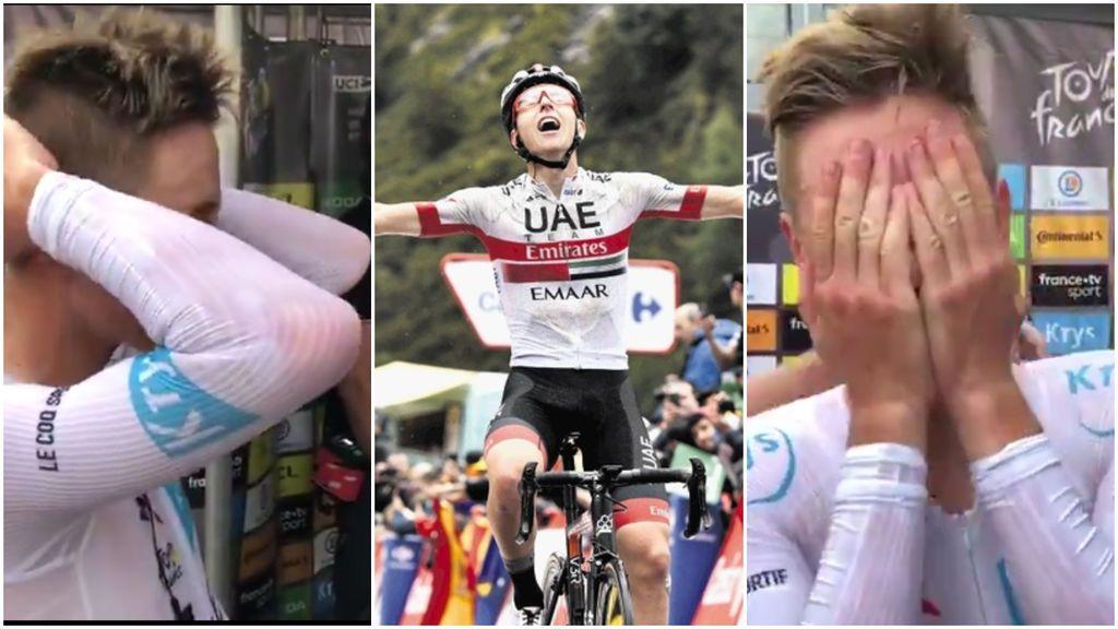 La reacción de Pogacar al enterarse que ha ganado el Tour de Francia