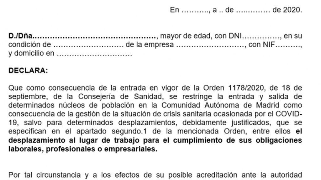 El certificado que justifica la entrada y salida de las 37 zonas sanitarias con la movilidad restringida