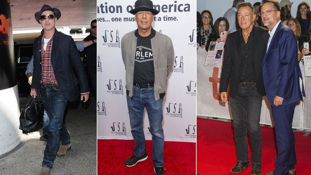 Brad Pitt, Bruce Willis y Bruce Springsteen con vaqueros estrechos