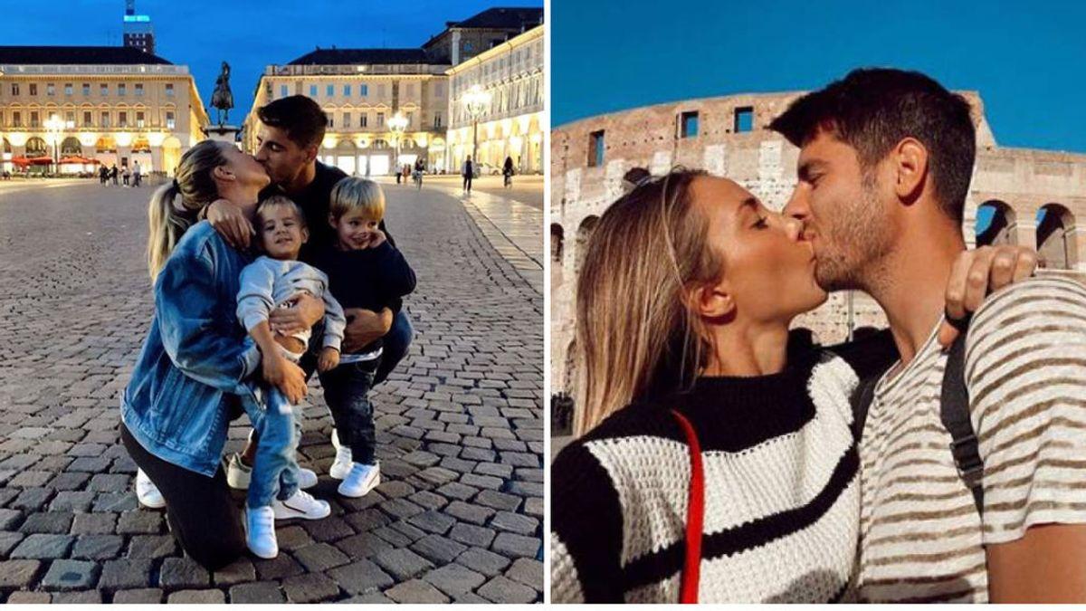"""Morata y Alice Campello presumen de felicitad en Turín: """"Nos fuimos dos, y volvemos cinco"""""""