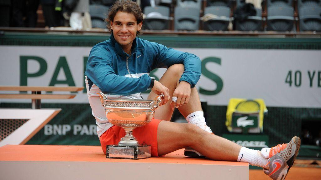 Rafa Nadal tras vencer Roland Garros en 2013.
