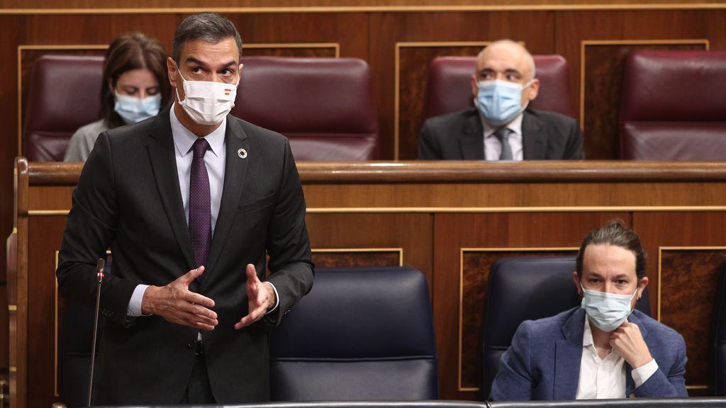 El presidente del Gobierno, Pedro Sánchez, en la sesión de control del Congreso