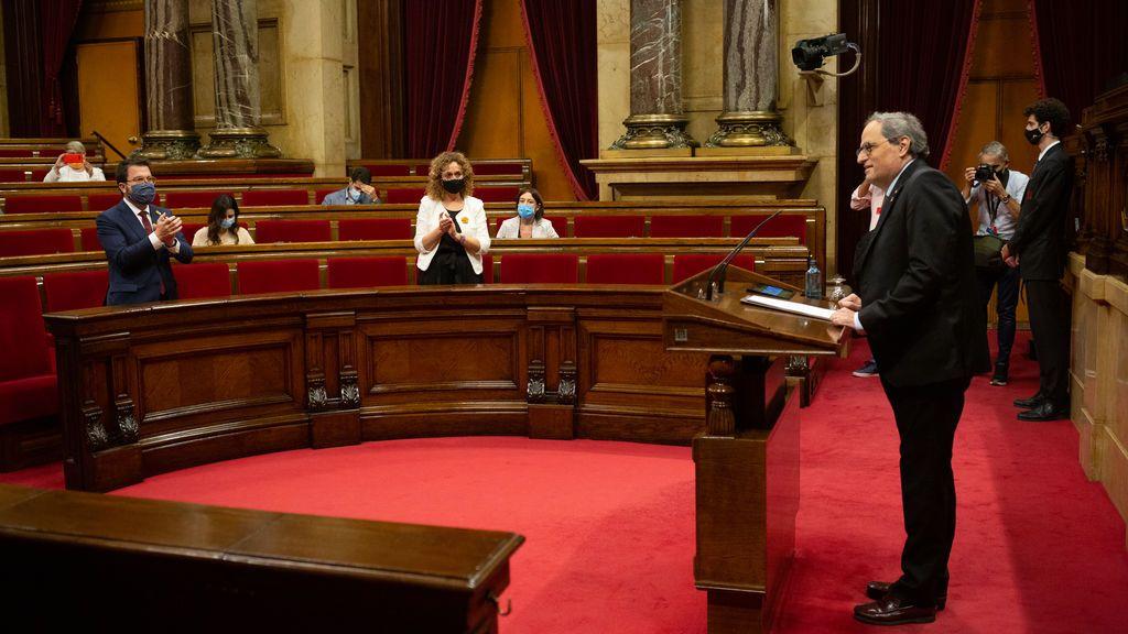 El Parlament aprueba el desagravio a Quim Torra ante la ausencia en bloque de la oposición