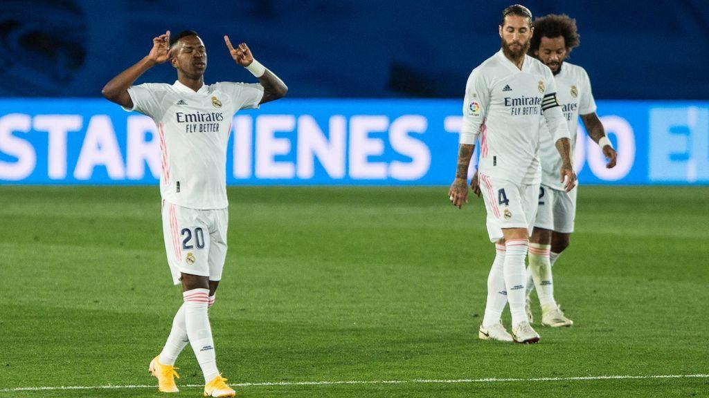 Vinicius celebra el gol ante el Valladolid.