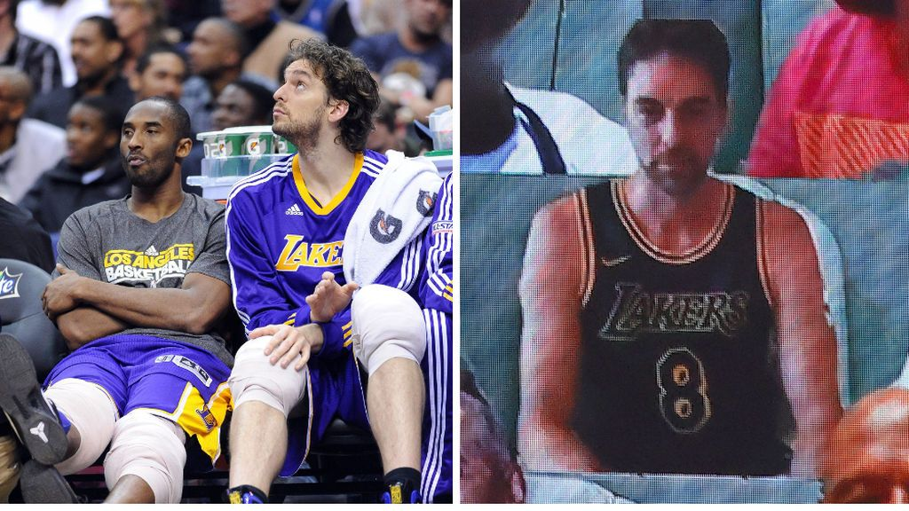 El aplaudido gesto de Pau Gasol con Kobe Bryant en el Lakers-Miami: llevó su camiseta durante todo el partido
