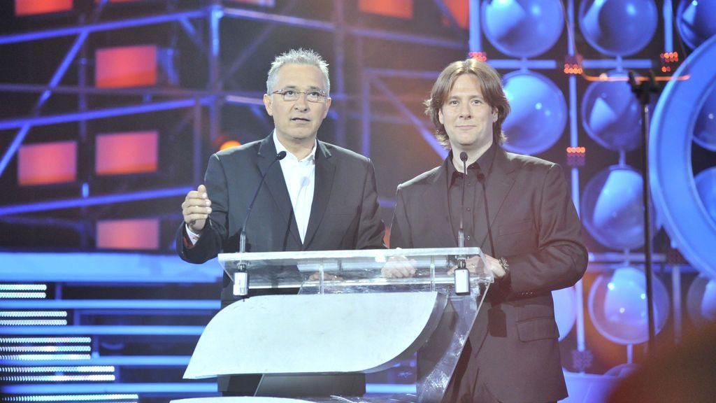 Con Carlos Latre, en la gala del 20º aniversario de Telecinco.