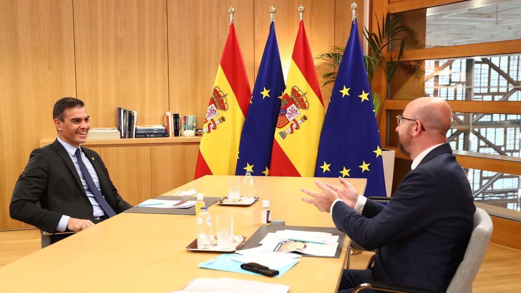 Pedro Sánchez, en una reunión con Charles Michel en Bruselas