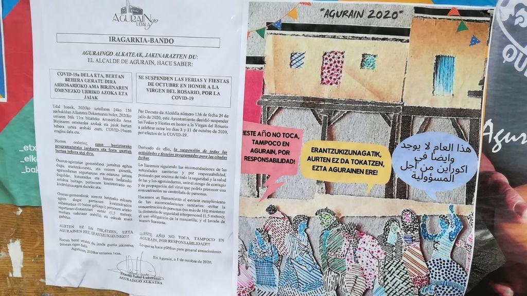 Bando munipal que suspende la fiestas en Agurain.