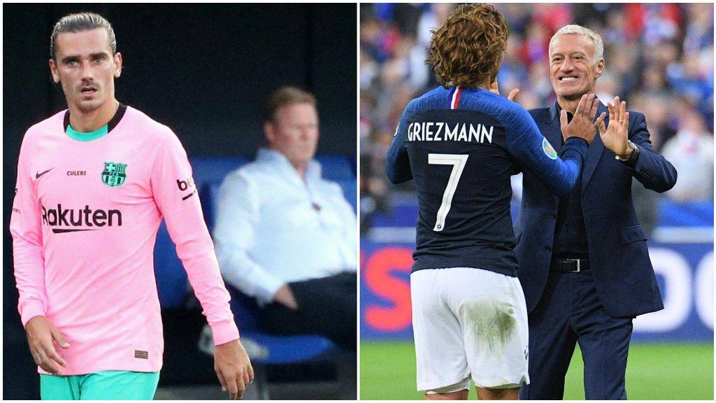 Griezmann, en un partido con el Barcelona, y saludando Deschamps en uno con Francia.