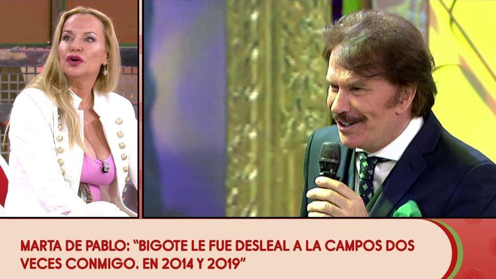 Marta de Pablo asegura que intimó con Bigote Arrocet cuando estaba con Teresa Campos