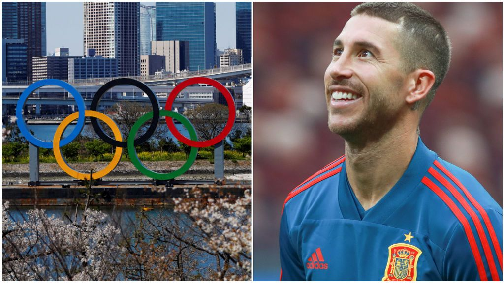 Los anillos olímpicos en Tokio y Sergio Ramos, con la Selección.
